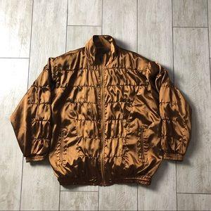 Bronze Gold Brown 90s Windbreaker Zip Up Jacket